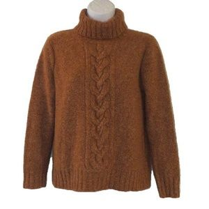 CASHMERE SWEATER L Rusty Brown TURTLENECK